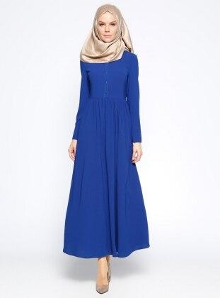 Düğme Detaylı Elbise - Saks