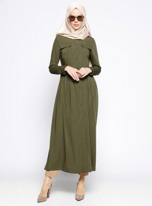Nihan Düğmeli Elbise - Haki