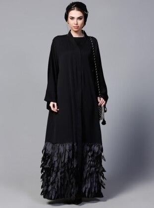 SHEIKHA Etek Ucu Lazer Yapraklı Abaya - Siyah