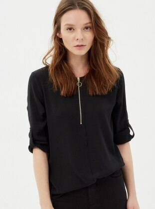 Fermuar Detaylı Bluz - Siyah Koton