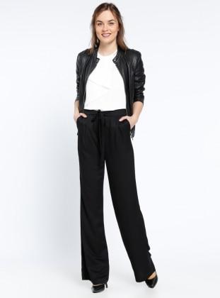 Geniş Paça Pantolon - Siyah