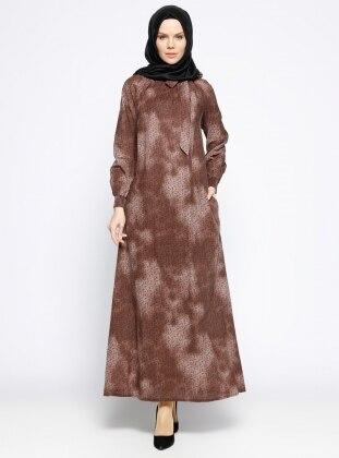 Gipeli Elbise - Kahverengi