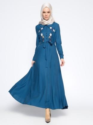 Nihan Nakış Detaylı Elbise - Petrol