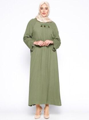 Hanımsa Püskül Detaylı Elbise - Haki