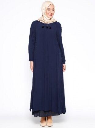 Hanımsa Püskül Detaylı Elbise - Lacivert