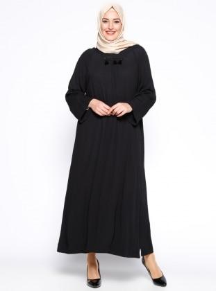 Hanımsa Püskül Detaylı Elbise - Siyah