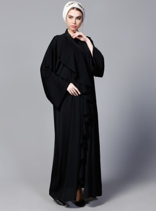 Volan Detaylı Abaya - Siyah