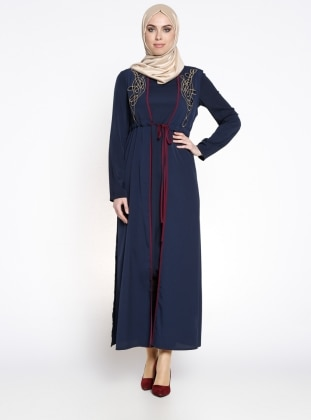 Yelekli Ferace Elbise - Koyu Lacivert