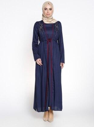 Yelekli Ferace Elbise - Lacivert