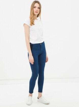 Yüksek Bel Kot Pantolon - Lacivert