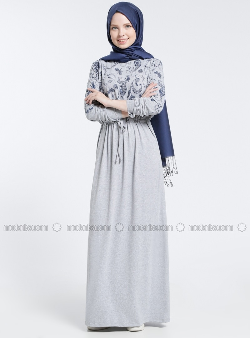 Gray - Multi - Crew neck - Unlined - Dresses