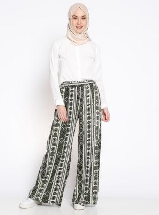Beli Lastikli Desenli Pantolon - Haki