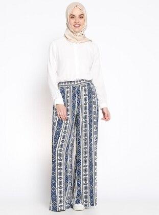 Beli Lastikli Desenli Pantolon - İndigo