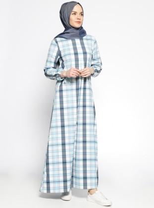 Ekoseli Elbise - Mavi Beyaz