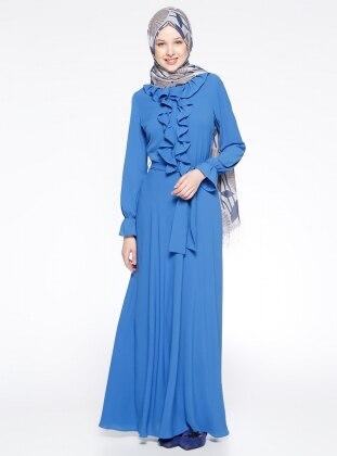 Fırfırlı Elbise - Saks