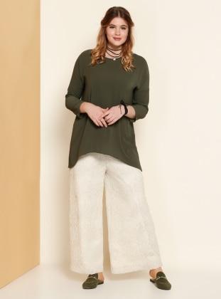 Dantel Detaylı Pantolon - Ekru