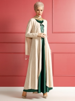 Green - Beige - Unlined - Crew neck - Muslim Evening Dress