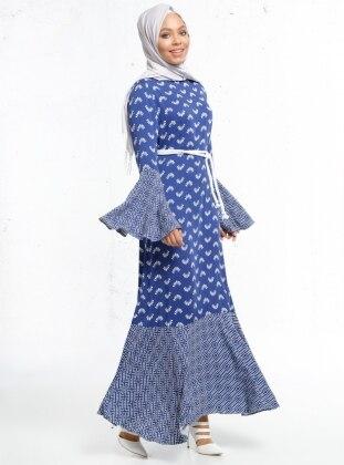 Doğal Kumaşlı Desenli Elbise - Lacivert - beyaz