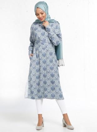 Doğal Kumaşlı Desenli Tunik - Mavi