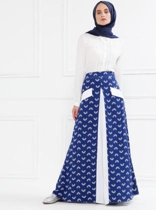White - Navy Blue - Multi - Unlined - Viscose - Skirt - Refka