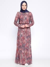 Desenli Elbise - Lacivert Pudra - Appleline