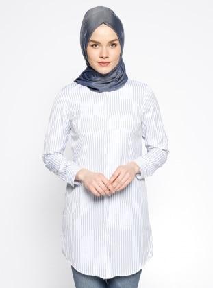 Çizgili Tunik - Mavi Beyaz Dadali