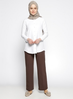 Dadali Geniş Paça Pantolon - Kahverengi