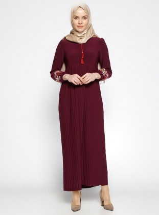 Unlined - Crew neck - Maroon - Purple - Dress - Dadali 284310