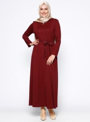 Kolye Detaylı Elbise - Bordo Metex