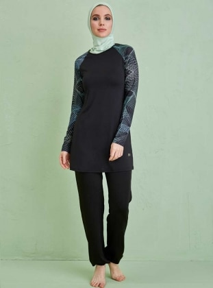 Lazer Kollu Tam Kapalı Mayo - Siyah Su Yeşili Mayovera