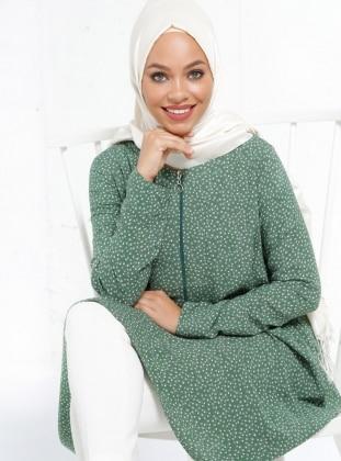 Natürel Kumaşlı Desenli Tunik - Yeşil