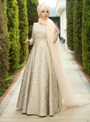 Fulya Abiye Elbise - Pudra