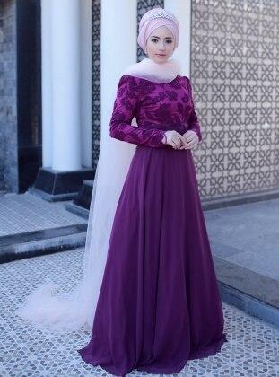 Hafsa Abiye Elbise - Mürdüm