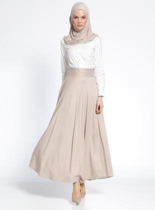 Fully Lined - Beige - Ecru - Skirt