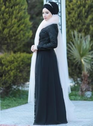 Ravza Abiye Elbise - Siyah