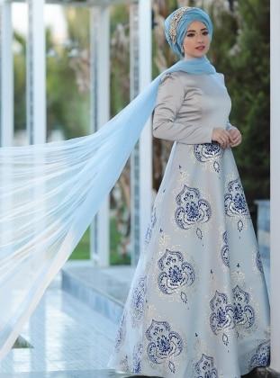 Thalia Abiye Elbise - Gri Mavi Lef`zen