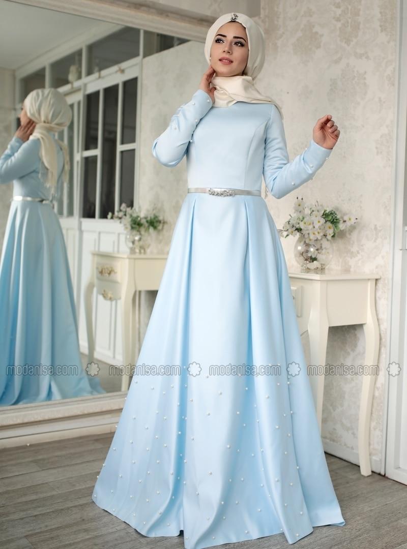 Blue - Crew neck - Unlined - Muslim Evening Dress - Lef`zen