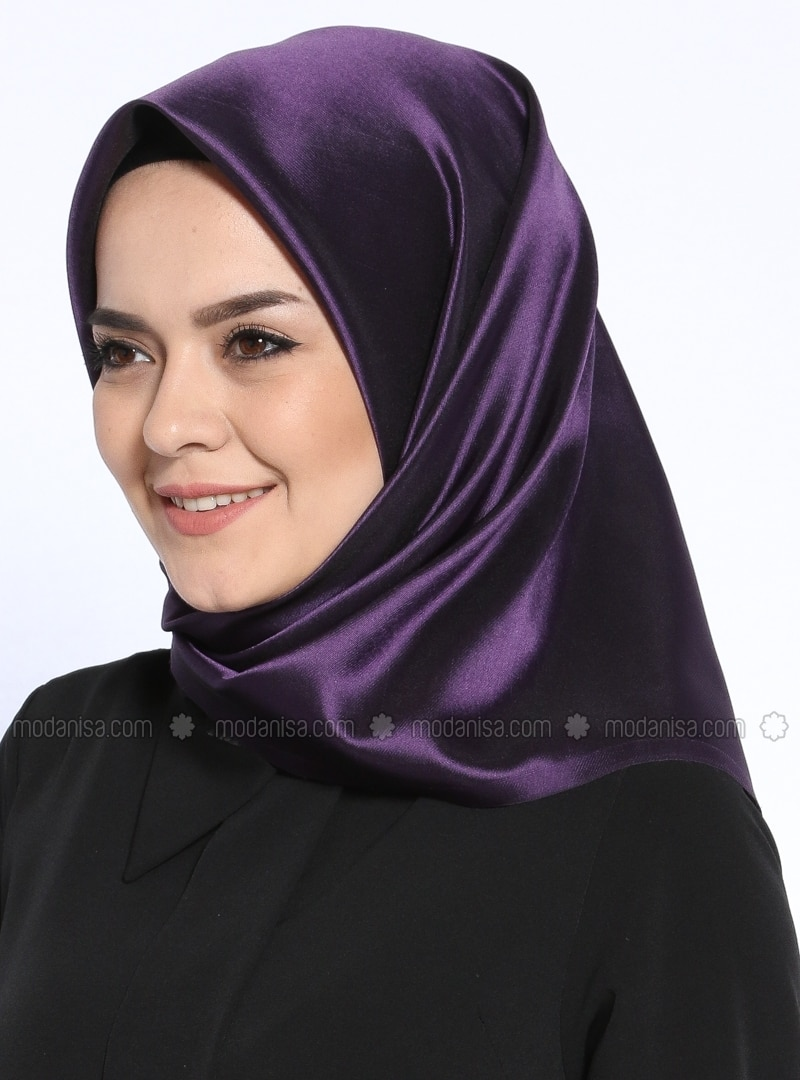 Black - Purple - Plain - Scarf