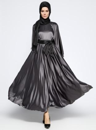 Beli Lastikli Elbise - Gri