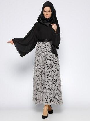 Dantelli Elbise - Siyah