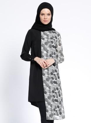 Desenli Tunik - Siyah Beyaz