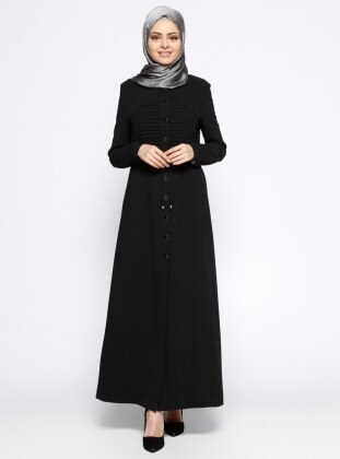 Drape Detaylı Ferace - Siyah