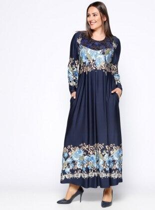 Drop Baskılı Elbise - Lacivert - he&de