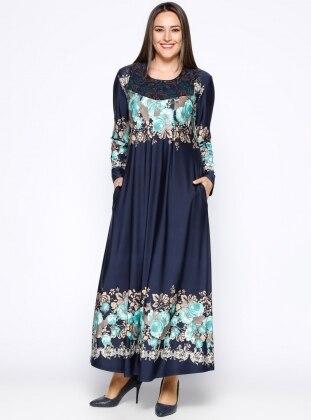 Drop Baskılı Elbise - Lacivert Yeşil - he&de