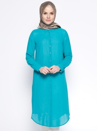 Düğmeli Tunik - Mint Appleline