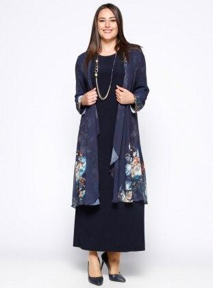 Elbise&Şifon Hırka İkili Takım - Lacivert - he&de