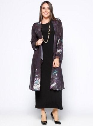 Elbise&Şifon Hırka İkili Takım - Siyah - he&de
