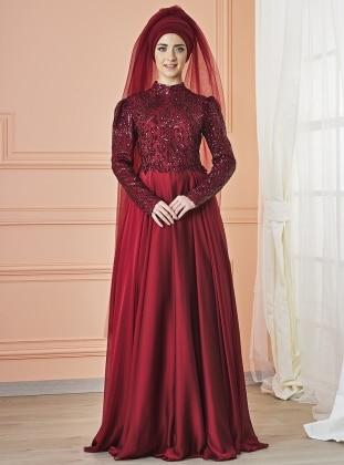 Eyşan Abiye Elbise - Bordo