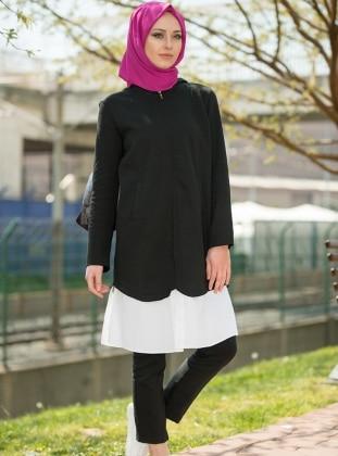Gömlek Detaylı Hırka - Siyah