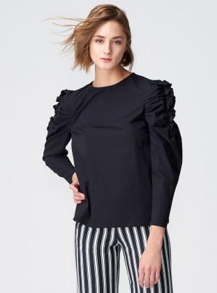 Kolları Büzgülü Bluz - Siyah